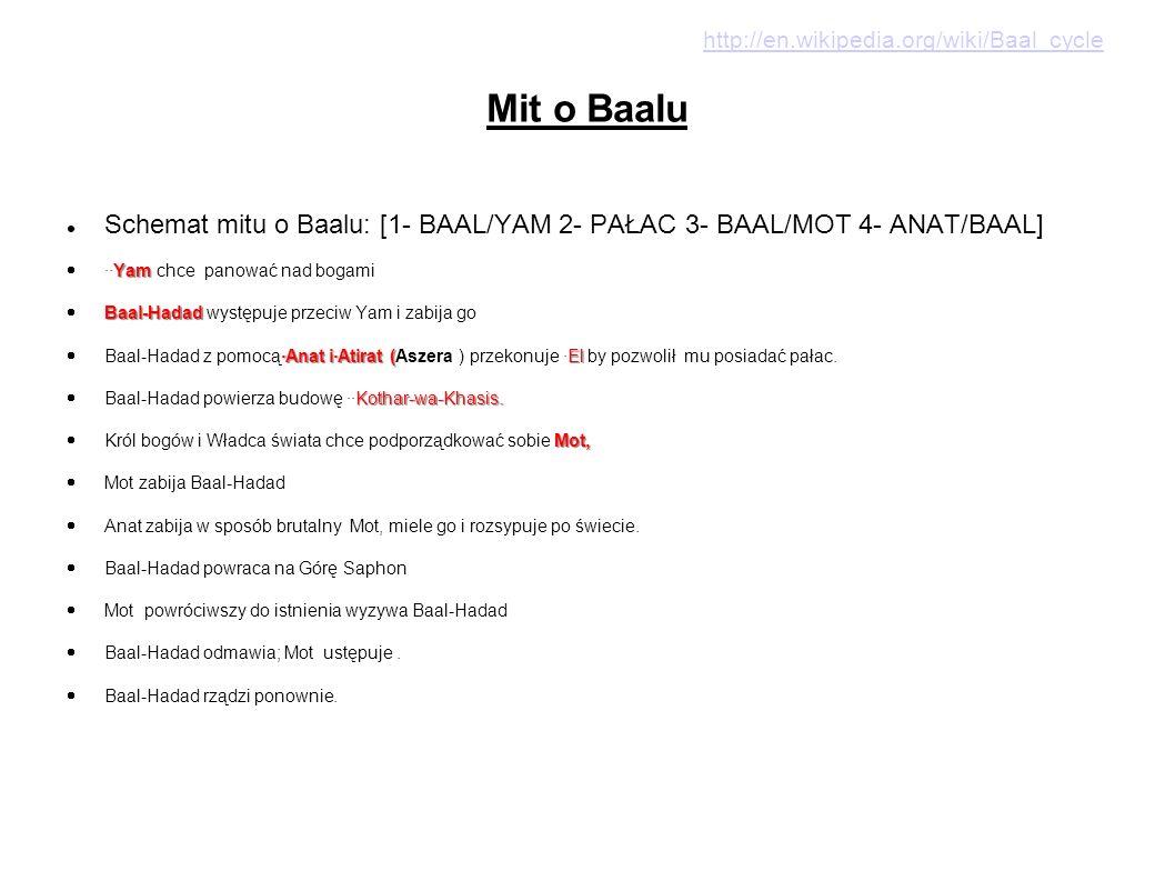 http://en.wikipedia.org/wiki/Baal_cycle Mit o Baalu. Schemat mitu o Baalu: [1- BAAL/YAM 2- PAŁAC 3- BAAL/MOT 4- ANAT/BAAL]